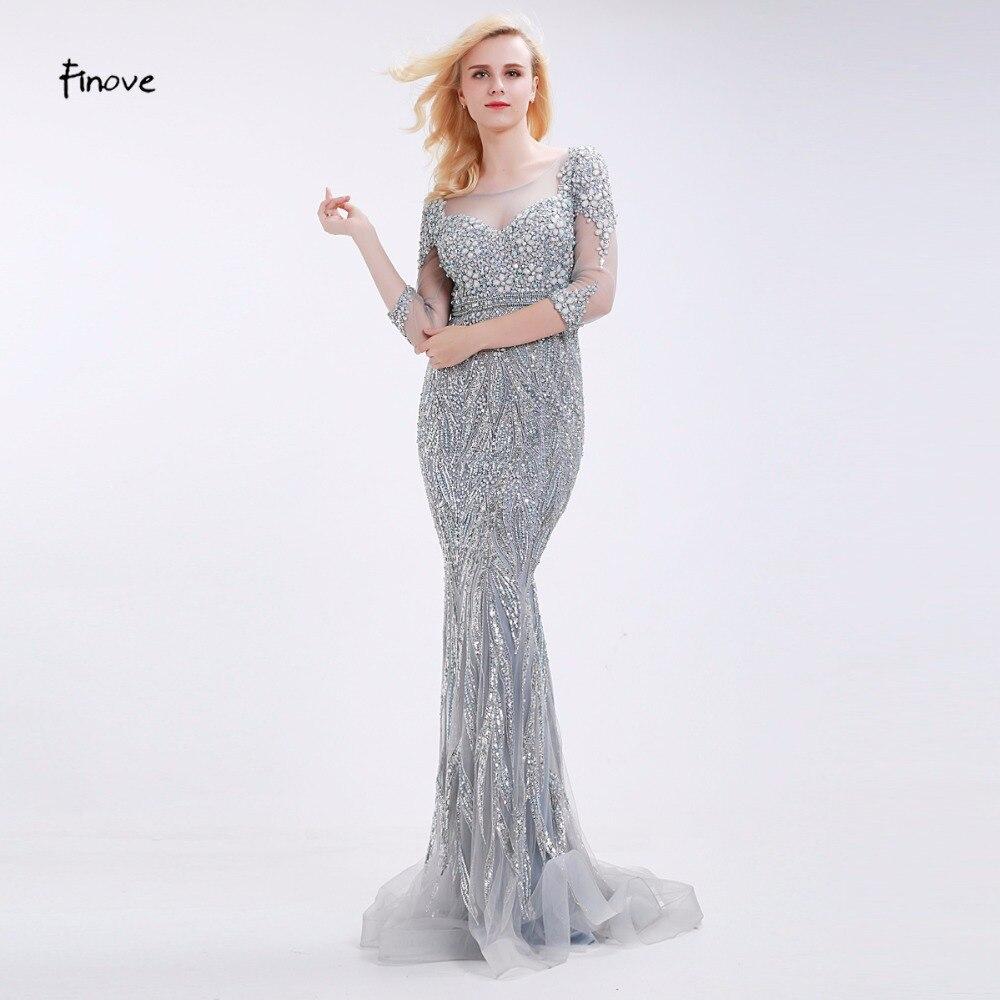 Finove Gray Mermaid Evening Dresses with Stunning Beading See Through Scoop Neck 2019 Elegant Floor Length