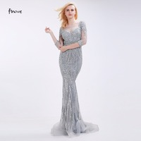 Finove Gray Mermaid Evening Dresses With Stunning Beading See Through Scoop Neck 2016 Elegant Floor Length