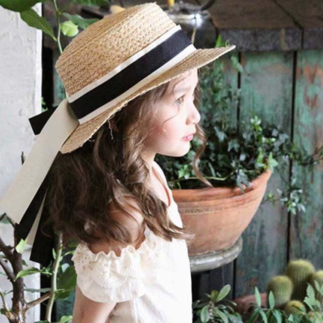 badf0cc59 Hot Sell Cute Child Girls Boy Straw Lace Bowknot Sun Hat Kids Beach Summer  Boater Beach Ribbon Round Flat Top Fedora Hat LB