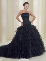 New Vintage 50s Gothic Black Ball Gown Organza Wedding Dresses Strapless Ruched Tiered Dropped Waist 60s