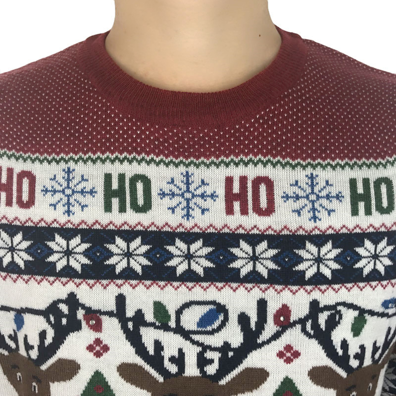 Funny Light Up Ugly Christmas Sweater for Men and Women Cute Reindeer Santa Patterned Xmas Pullover Jumper Plus Size S-2XL 5