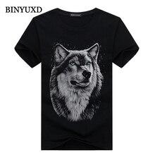 BINYUXD cotton 3d t shirt  men 2016 summer new arrvial 3D funny wolf  man's T-shirt extended plus size 4XL white black blue