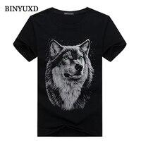 Cotton 3d T Shirt Men 2016 Summer New Arrvial 3D Funny Wolf Man S T Shirt