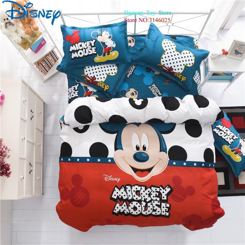 Disney Mickey 3 pièces/ensemble aloès coton housse de couette ensemble de taies d'oreiller pour 1.2 M lit adulte enfants literie ensemble pour enfant chambre décor lit
