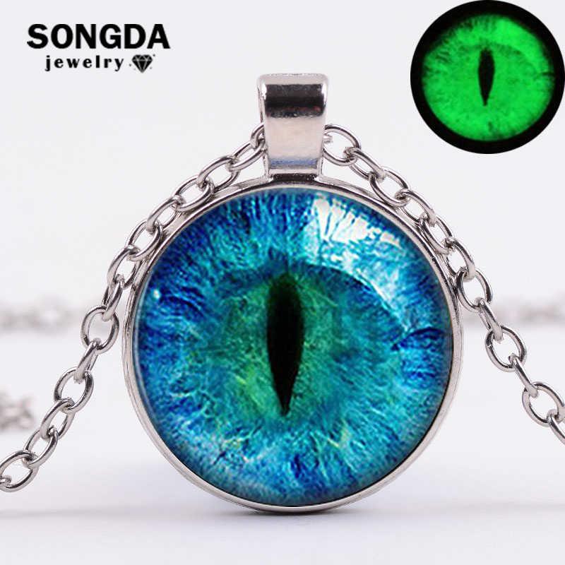 SONGDA 2018 חדש כחול חתול עיני הדרקון שרשרת זוהר בחושך פלורסנט בעלי החיים עין עגול פנינה תליון שרשרת ליל כל הקדושים מתנות