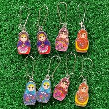 1 Pairs Enamel Russian Doll Matryoshka Charms Dangle Earrings Women Fashion Jewelry Gift
