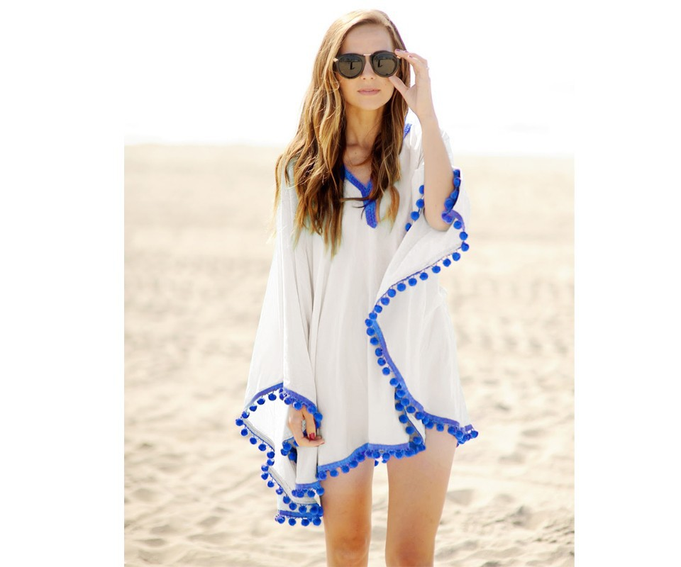 17 New Summer Women Pom Pom Trim Kaftan Beach Dress Lady Swimwear Bikini Cover-up Beach Tunic Wear for Girl 41150 5