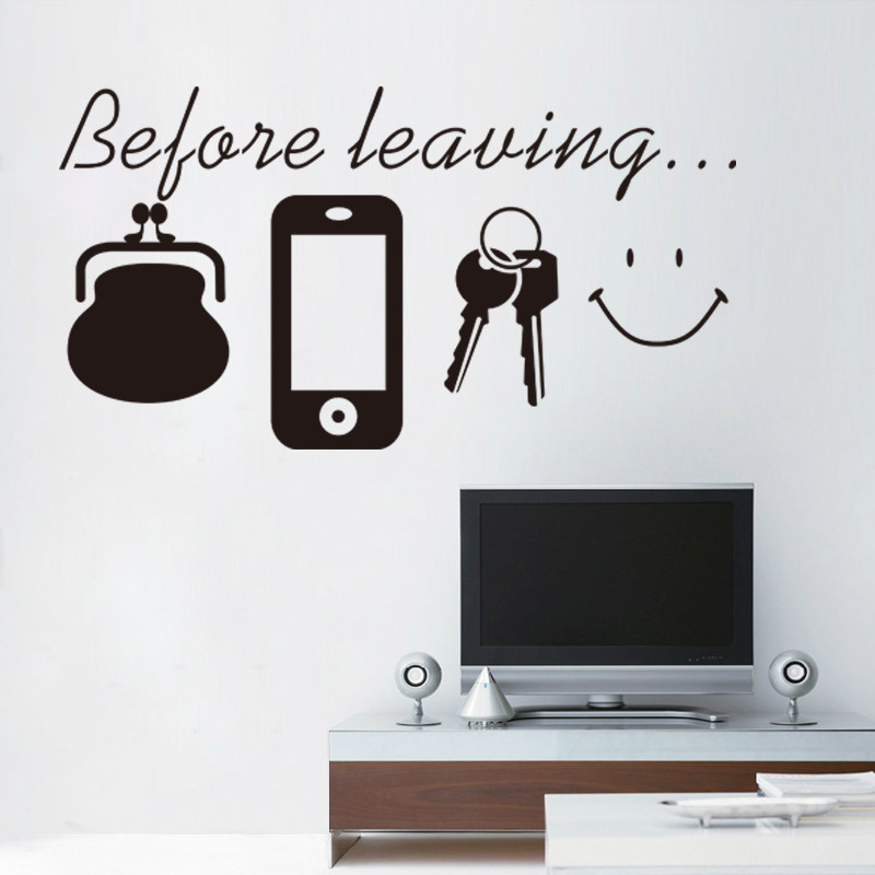 % Before leaving house remind <font><b>wallet</b></font> <font><b>phone</b></font> keys Living room PVC wall <font><b>stickers</b></font> entrance door hallway removable wall poster