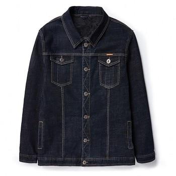 Winter plus velvet Fleece denim jacket M- 8xl  men's plus size male loose Turn-down Collar coat big size warm Outerwear & Coats