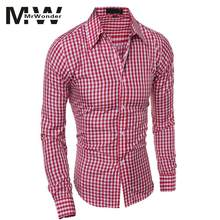 41816b821d0 mrwonder Men s Oktoberfest Red Shirts Men Stylish Long-Sleeve Plaid Shirt  Elegant Blouse Tops for
