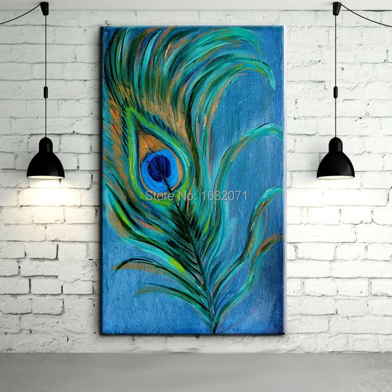 Top Quality Handmade Peacock Feathers Oil Painting On Canvas Abstract Feather Painting On Canvas For Living Room Decoration