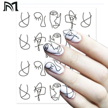23 Sheets Nail Watermarking Posted/Abstract Art Nails Water Sticker Black Simple DIY Decoration Stickers Tools CF2
