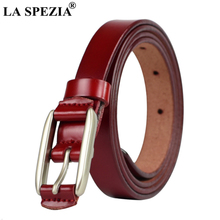 LA SPEZIA Womens Thin Belt Real Leather Red Belts For Dresses Female Brand Genuine Cow Ladies Narrow Pin Buckle