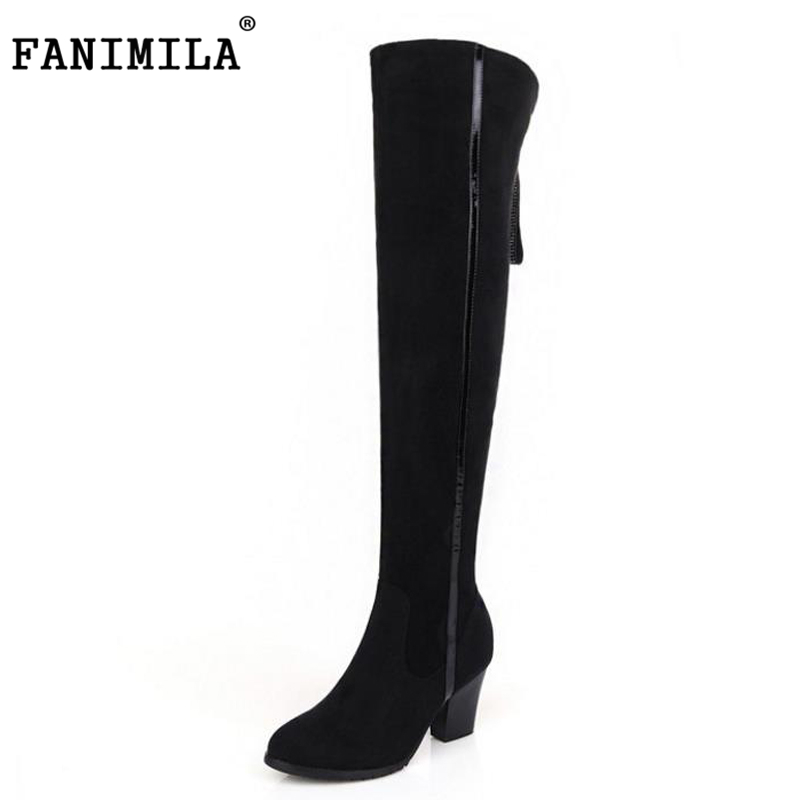 FANIMILA size 31-45 women real genuine leather high heel over knee boots flock warm long boot quality footwear shoes R8301 size 31 45 women real genuine leather high heel over knee boots winter warm long boot riding quality sexy footwear shoes r8297