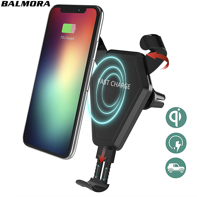BALMORA Car QI Fast Wireless Charger for iPhone X 8 plus Phone Quick Wireless Charging Stand Holder For Samsung Galaxy S8 S7edge