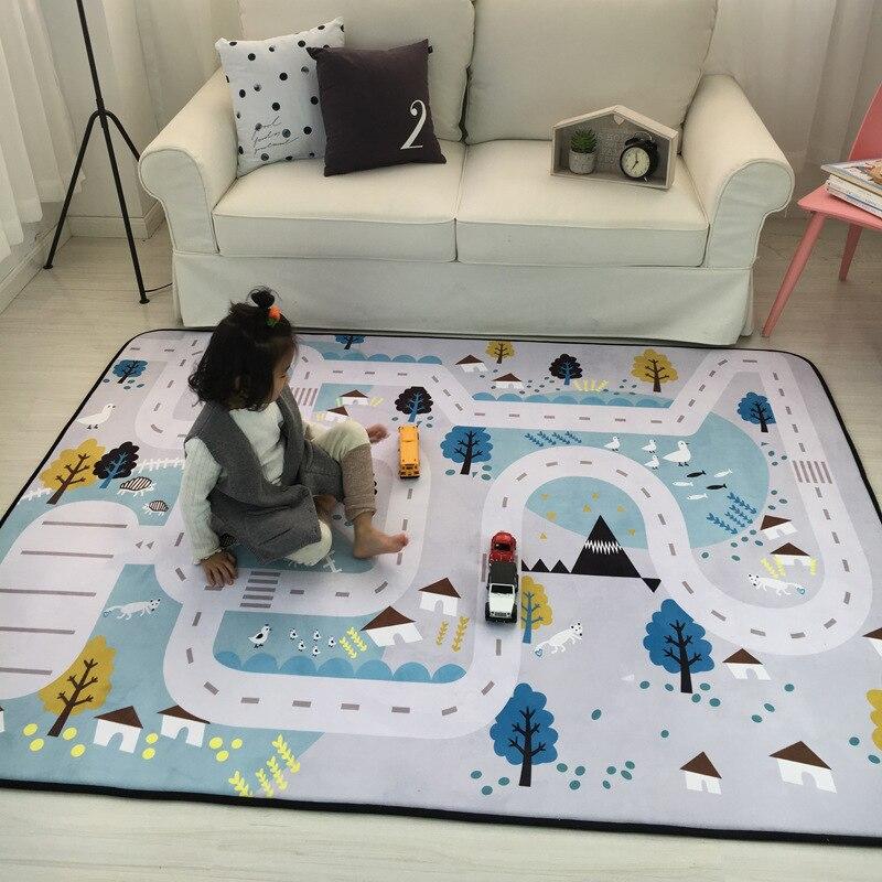 150*195 cm grand tapis nord enfants voiture ville scène taffetas autoroute carte tapis de jeu jouets éducatifs pour enfants Gym jeux route Carpe