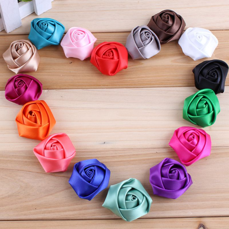 20pcs/lot 1.4 16Colors DIY Fabric Rolled Rose Flowers For Children Hair Accessories Artificial Flowers For Wedding Decoration