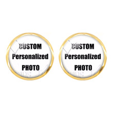 Personalized Custom Stud Earrings Photo Mum Dad Baby Children Grandpa Parents Designed Photo Gift For Family Anniversary Gift
