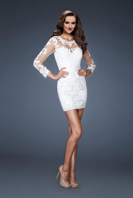 WD109 O Neck White Short Sheath Wedding Dresses Summer Sexy Lace Appliques Long Sleeves Sheer