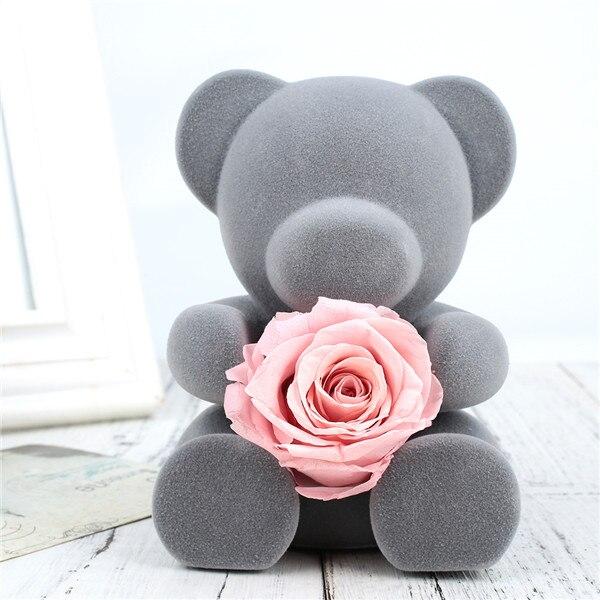 Искусственные цветы розы Медведь собака кролик Мопс юбилей день Святого Валентина подарок на день рождения мать подарок Свадебная вечеринка украшение - Цвет: Bear fresh Rose Pink