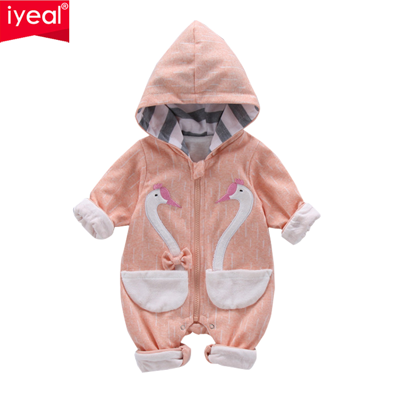 IYEAL Baby Rompers Autumn Long Sleeve Infant Newborn Girl Clothes Swan Pattern Cotton Jumpsuit Baby Outwear Hooded Cute Clothing mother nest 3sets lot wholesale autumn toddle girl long sleeve baby clothing one piece boys baby pajamas infant clothes rompers