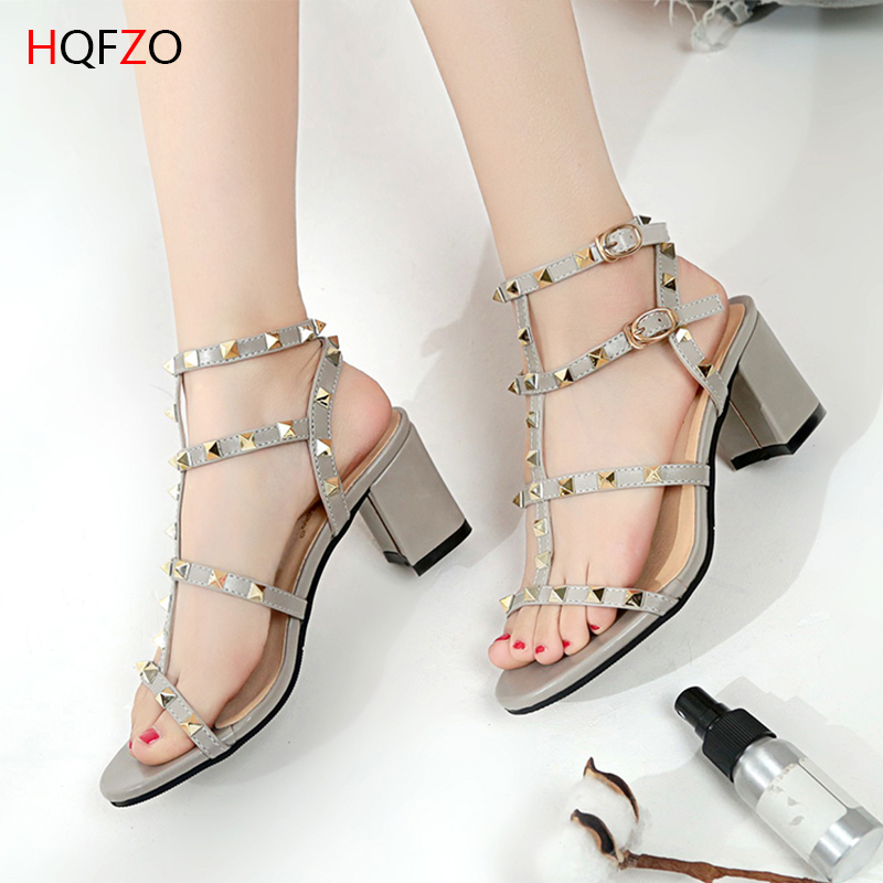 HQFZO New Women Pumps Sexy Chunky Block High Heels Rivet  Buckle Strap Platform Sandals Talon Party Shoes Tacos Mujer/Heels 7cmHQFZO New Women Pumps Sexy Chunky Block High Heels Rivet  Buckle Strap Platform Sandals Talon Party Shoes Tacos Mujer/Heels 7cm