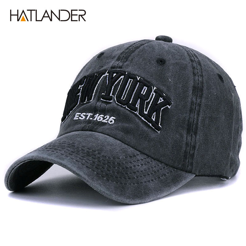 [HATLANDER]Sand washed 100% cotton   baseball     cap   hat for women men vintage dad hat NEW YORK embroidery letter outdoor sports   caps