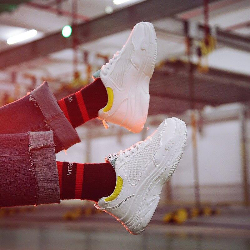 Femelle Chaussures Profonde Croix Vulcaniser Bleu blanc Plate Épaisses Femmes Lacets jaune attaché Pour forme Classiques Semelles Peu Sneakers Doux À Yv8Yq7z