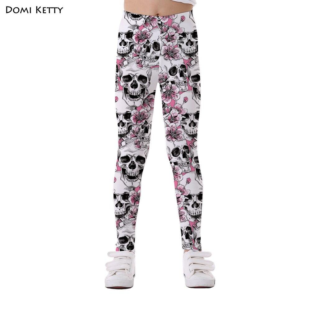 Domi Ketty mädchen leggings druck blumen schädel rosa kinder casual fitness hohe taille leggings kinder baby party hosen hosen