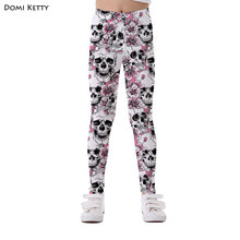 1f9f5f69c1199 Domi Ketty girls leggings print flowers skull pink children casual fitness  high waist leggings kids baby