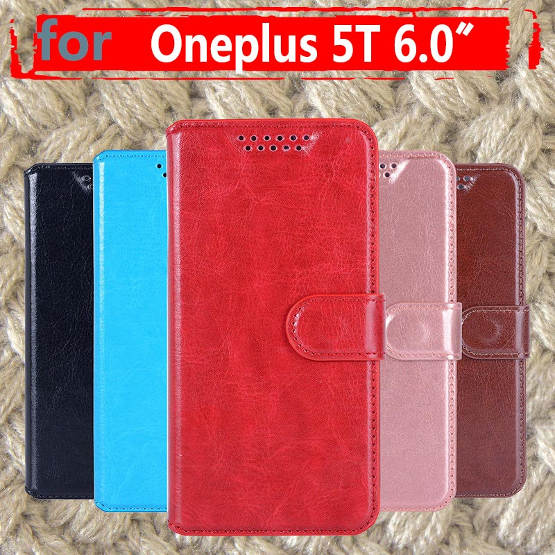 For <font><b>Oneplus</b></font> 5T Case <font><b>Cover</b></font> <font><b>Original</b></font> PU Leather Kickstand <font><b>Flip</b></font> Case Silicone TPU Back Hard Metal 5.0 Capas For <font><b>Oneplus</b></font> 5T image