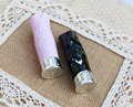 free shipping 12.1mm 10/20/5opcs/lot engraving,carving high-grade lipstick tube, black/pink  empty Lip balm container
