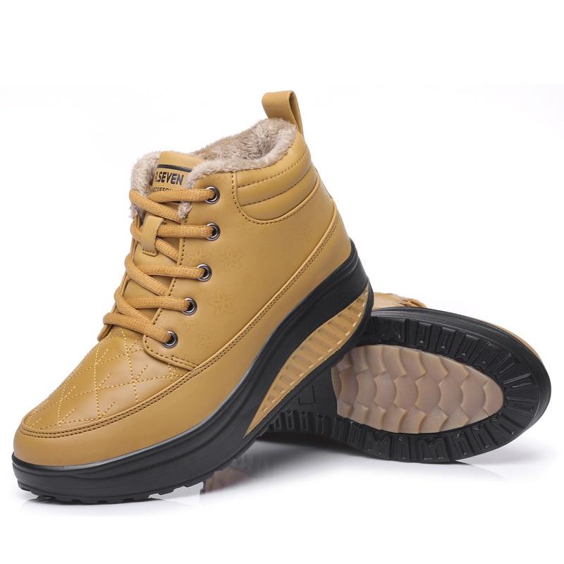 Mujeres Invierno Con Moda Nieve Flexible Gruesa yellow Piel La Mujer Zapatos Marca Jxgxsx Impermeable Las Antideslizante De Black Botas Madre Casual 61wZWAq