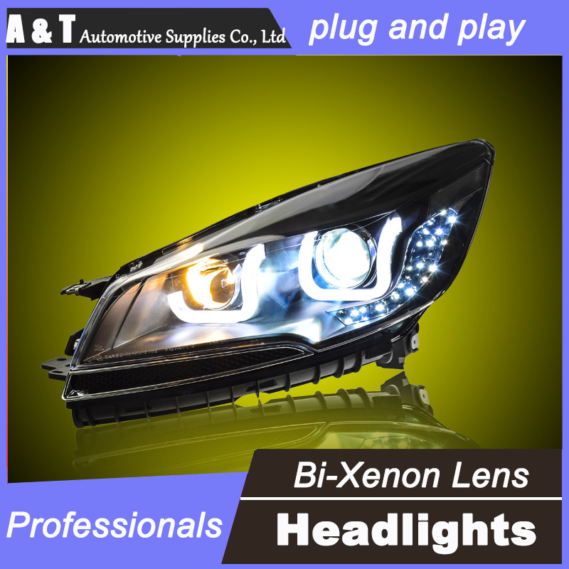 car styling For Ford Escape Kuga headlight assembly 2013-2015 For Kuga LED lamp angel eyes bi xenon lens h7 with hid kit 2pcs hireno headlamp for 2013 2015 nissan tiida headlight assembly led drl angel lens double beam hid xenon 2pcs