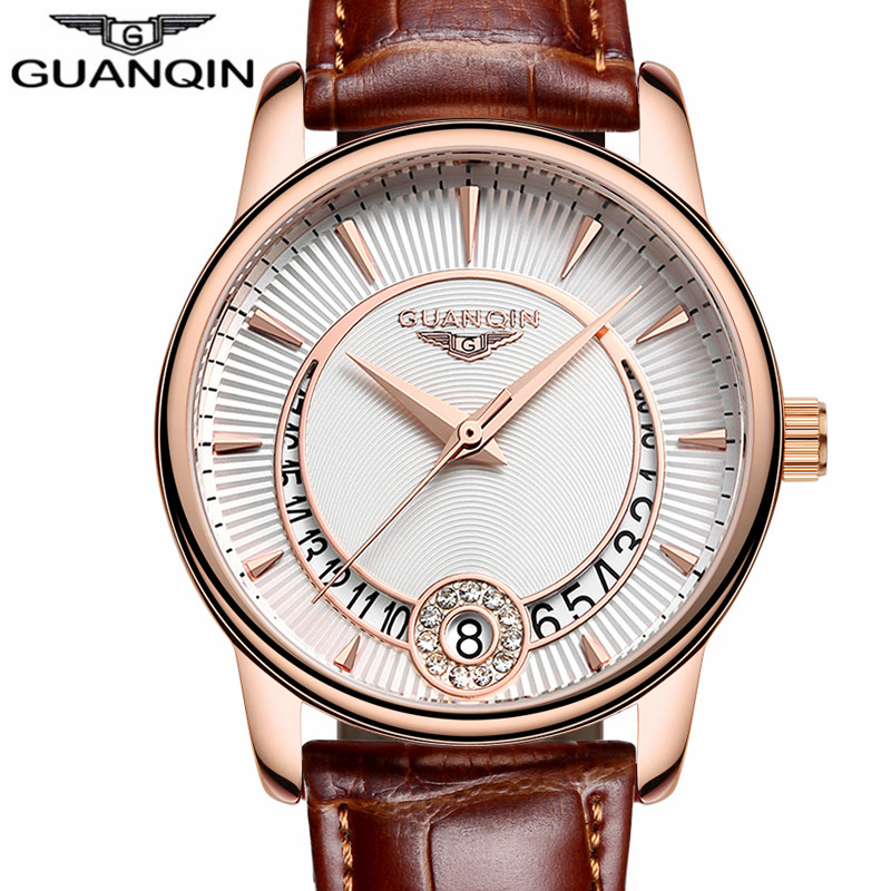 GUANQIN Women's Fashion Casual Quartz Watch Women Gold Case White Dial Series Leather Ladies Luxury Jewelry Watches montre femme relogio feminino watches women fashion guanqin gold case red leather quartz watch luxury ladies diamond wristwatch montre femme