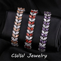 High Quality Women CZ Diamond Jewelry Luxury Big Austrian Red Purple Crystal Bracelet With White Gold Plated CB141