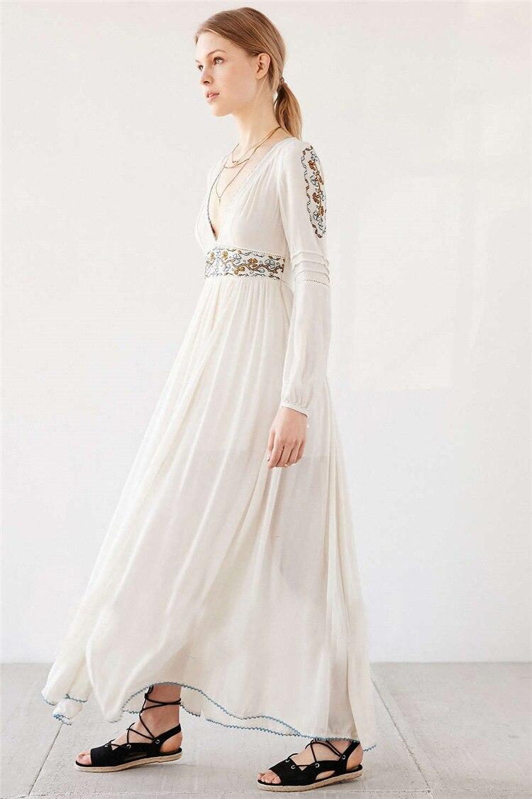 d9be33578 syigw PureBliss hippie boho chic diamond embroidery print white chiffon  beach maxi dress-in Dresses from Women's Clothing on Aliexpress.com    Alibaba Group