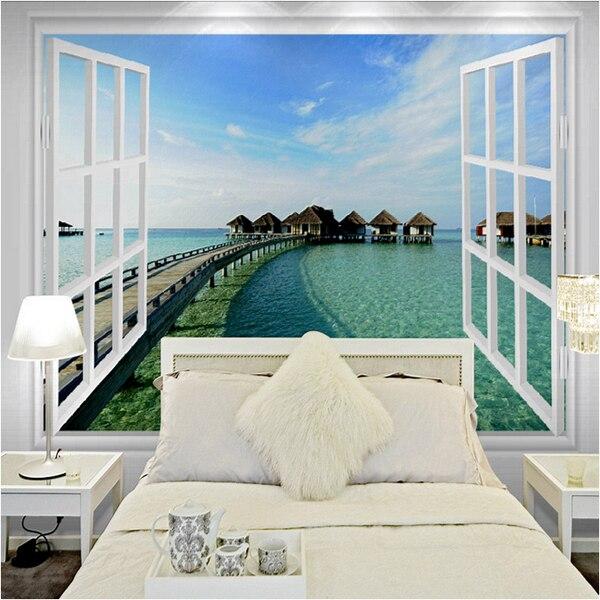 Letto A Muro.Camera Da Letto Muro Sfondo Mural Finestre Vista Mare 3d Wallpaper