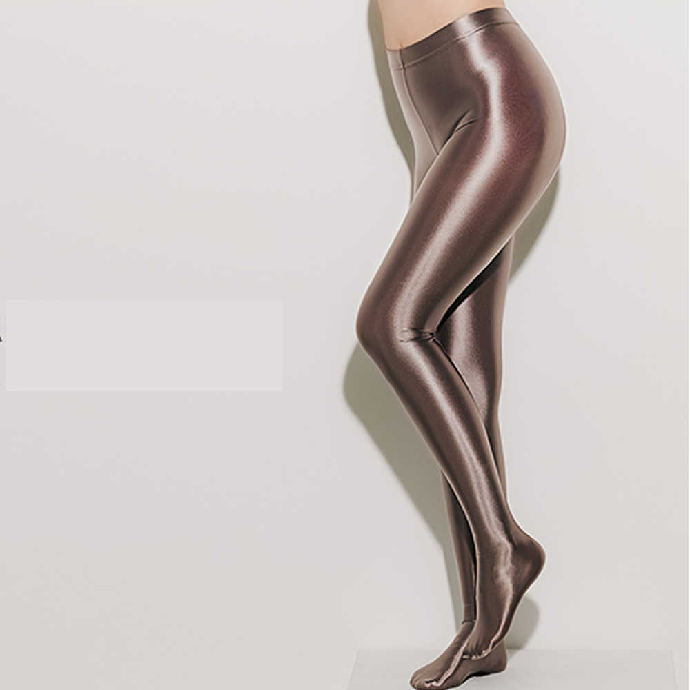 DROZENO Stockings NylonGlitter Sexy Satin Glossy Opaque Pantyhose Shiny Trousers Fashion Japanese Slim High Waist Thights LEOHEX