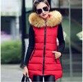 Китайский стиль новинка женщин зимние Ma3 jia3 меховой воротник капюшоном чистый цвет жилет большой ярдов тонкий толщиной теплое пальто G1928