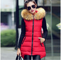 Chinese Style New Fashion Women Winter Ma3 jia3 Fur collar Hooded Pure color Cotton Vest Big yards Slim Thick Warm Coat G1928