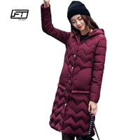 Fitaylor New Winter Women Jacket Warm Hooded Parkas Long Snow Quilted Slim Edge lattice Coat Army Green Jackets