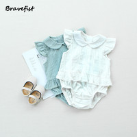 2018 New Baby Girls Patchwork Rompers Summer Kids Flying Sleeve Cotton Jumpsuits 0 3T White Green