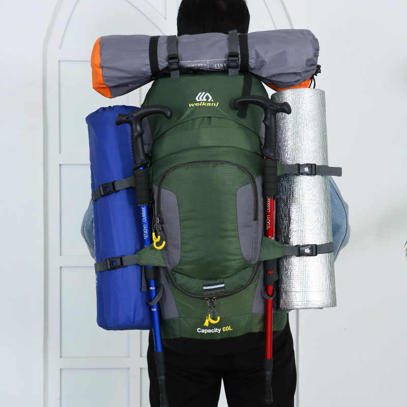 Luar Ruangan Super Ringan Nilon Ransel Merek Berkemah Mendaki Pendakian Tas Olahraga Perjalanan Ransel Tas Bahu 80L 1811