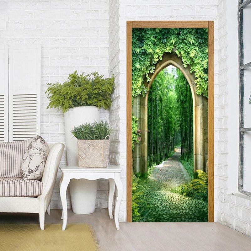 3d Tapete Chinesischen Stil Bambus Hain Landschaft Foto Wandbild Tur