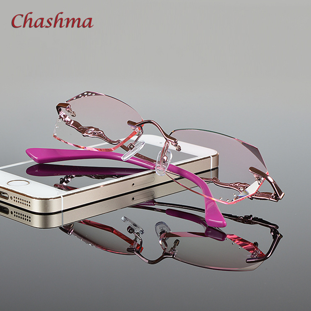 73a05f84587 Chashma Brand New Fashion Korea Rimless Diamond Alloy Women Myopia Spectacle  Frames Colored Lenses Eyeglasses Female
