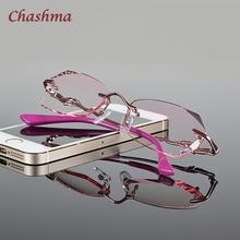 Chashma бренд Новая мода Корея без оправы алмазный сплав для женщин оправа с линзами при миопии цветные линзы очки для женщин