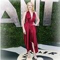 Oscar Vanity Fair Patricia Clarkson Sexy Deep V Neck Both Shoulder Sleeveless Tea Length Celebrity Dresses YY12