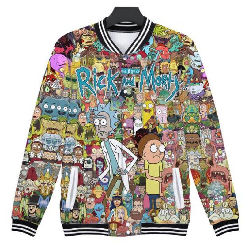 Harajuku Cartoon Rick And Morty 3D Baseball uniform ricky y morty Men's Jacket Hip Hop Fashion Outwear Winter Baseball Jackets