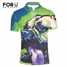 FORUDESIGNS 2017 Summer Polo Men's Shirt For Teenager Boys Graffiti 3D Pug Dog Male Bodybuilding Polo Homme Short Sleeved Polos